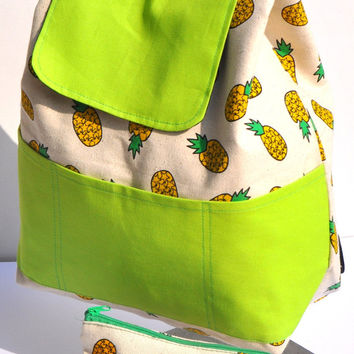 Quality New Zealand Canvas pineapple with green pockets (free sorage pouche) Canvas backpack - bag for him - bag for her