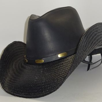 925037ff Black Straw Cowboy Hat COOPER LEATHER by Austin, just one