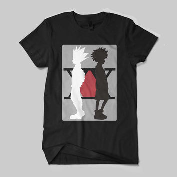 Hunter X Hunter Character Killua Gon Anime Black and White T-Shirt Unisex Size