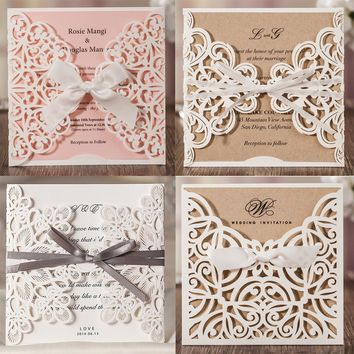 1pcs Laser Cut Lace Flora Wedding Invitation Cards with Ribbon Bow and Envelopes for Bridal Shower Engagement Birthday invites