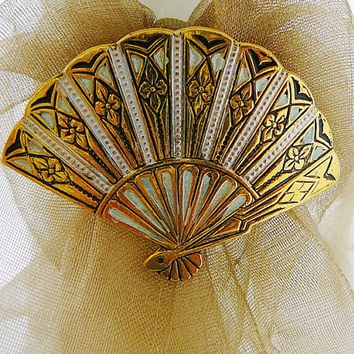 Vintage .. Brooch, Spanish Damascene Fan Black Goldtone White Mint Green