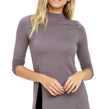 Eyes On Me Dusty Purple Long Sleeve Tunic Top
