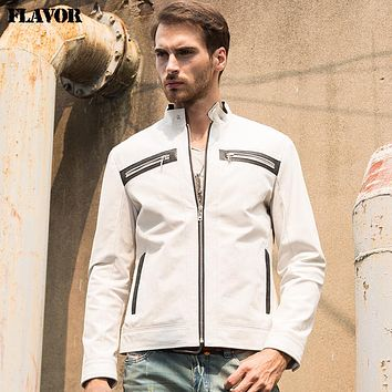 Men's real leather jacket Genuine Leather jacket men leather coat pure white