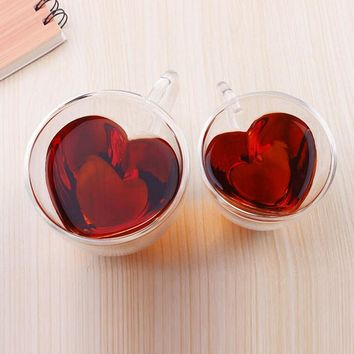 Heart Shaped Heat Resistant Double Wall Coffee Mug With Handle Valentine's Day