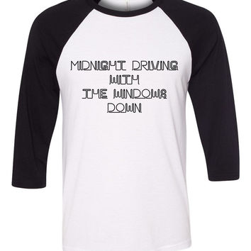 "One Direction ""Perfect - Midnight driving with the windows down"" Baseball Tee"