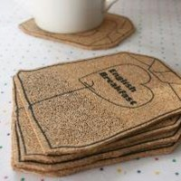 Tea bag coasters set  screen printed cork by littleclouds on Etsy
