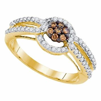 10kt Yellow Gold Women's Round Brown Color Enhanced Diamond Cluster Bridal Wedding Engagement Ring 1-2 Cttw - FREE Shipping (US/CAN)