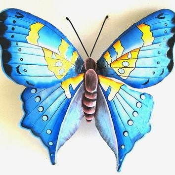 Hand Painted Metal Blue Butterfly Wall Hanging - Upcycled Haitian Steel Drum Tropical Art - BU-513-L-BL