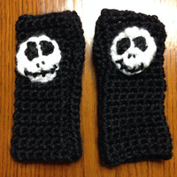 Jack Skellington inspired soft crochet fingerless gloves pick your size - made to order -christmas - holiday - gifts for her - gifts for him