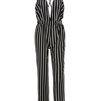 Streetstyle  Casual X-Back Spaghetti Strap Vertical Striped Straight Jumpsuit