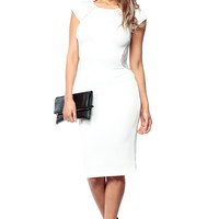Lace Panel White On White Scuba Dress