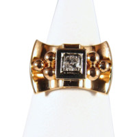 Estate 18K Solid Gold Art Déco Ring with one natural diamond Stamped Fine French Jewelry