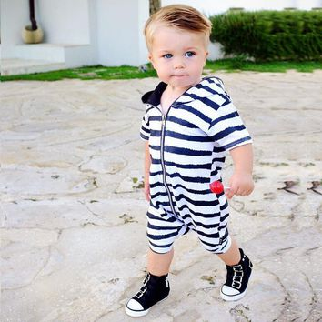 Cool Baby Black Striped Cotton Zipper Hooded Romper