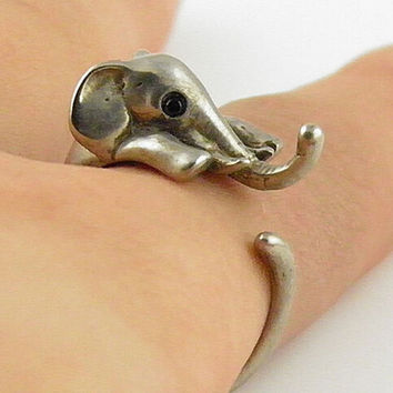 Animal Wrap Ring - Elephant - Old Silver Adjustable Ring