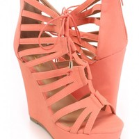 Coral Strappy Peep Toe Wedges Nubuck