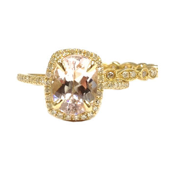 Oval Morganite Engagement Ring Sets Pave Diamond Wedding 14K Yellow Gold 6x8mm Cushion Halo Eternity Band