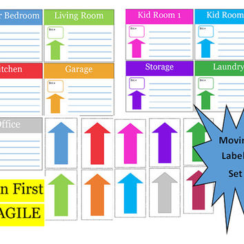 Moving Labels, Moving Checklist, Moving Company Quote Comparison Sheet, Moving Planner, Relocation Planner