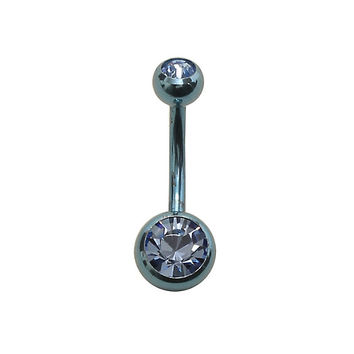 14G Metallic Blue CZ Navel Barbell