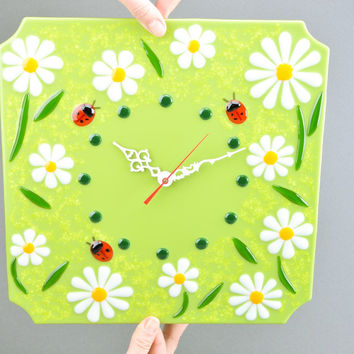 Shop Fused Glass Wall Clocks on Wanelo