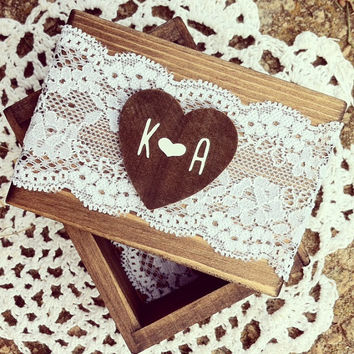 Rustic Wood Ring Box Ring Bearer Box Ring Keepsake Box Lace Box Rustic Wedding Ring Box Bridal Shower Gift