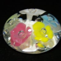 St Clair Blown Glass Paperweight, Art Glass Flower, Clear Cased Pastel Floral Paper Weight 1017