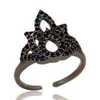 Blue Sapphire Black Oxidized Sterling Silver Crown Midi Ring