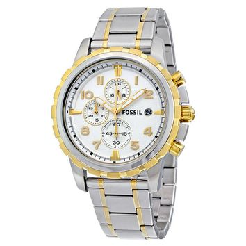 Fossil Dean Chronograph Silver Dial Two-tone Mens Watch FS4795