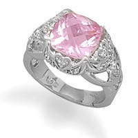 Rhodium Plated Synthetic Pink Sapphire and Clear Cubic Zirconia Ring