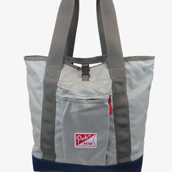 Hobo Tote - Convertible Tote/Backpack - grey and midnight blue