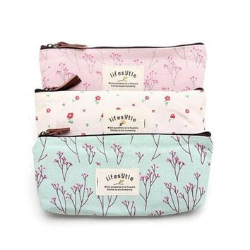 Flower Print Lace Makeup Cosmetic Bag Pouch Travel Organizer Make Up Cosmetic Bags Floral Pencil Pen Case