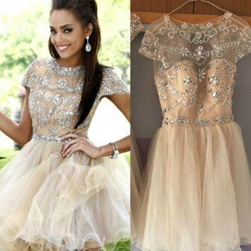 2017 Spring Cocktail Dress rhinestone Crystal Beading Backless Cap Sleeves Homecoming Dress