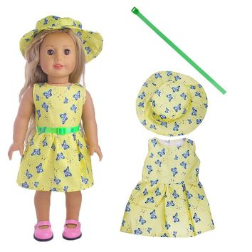 1set=Hat+Dress+belt Clothes For American Girl Doll 18 Inch Doll Clothes And Accessories LT1149