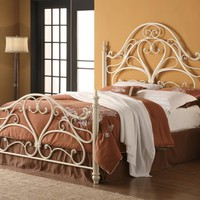 Magdelene collection egg shell finish metal queen headboard and footboard set