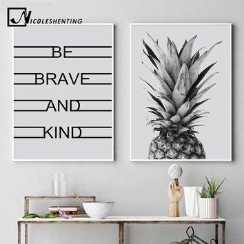 Scandinavian Style Pineapple Canvas Nordic Posters Prints Motivational Wall Art Painting Decorative Picture Modern home Decor