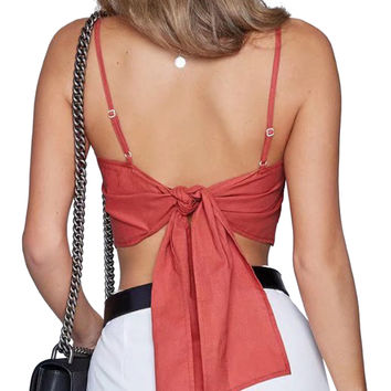 Red Spaghetti Strap Tie Back Crop Top