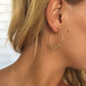 Arrowhead Hoop Earrings in Gold