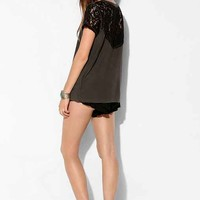 Pins And Needles Lace Rocker Tee- Black