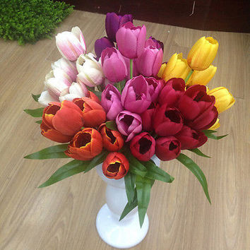 Tulip Decor 9 Heads Silk Flower 1 Bouquet Party Floral Artificial Rose Home HU