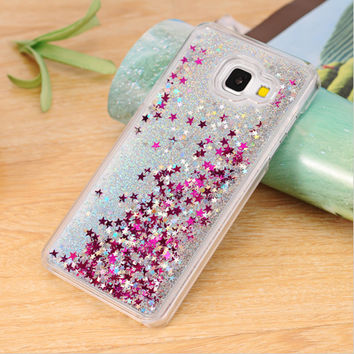 Note 4 Note 5 S6 Edge A3 A5 A7 2016 Bling Liquid Glitter Sand Quicksand Star Clear Case For Samsung Galaxy S7 Edge Accessories