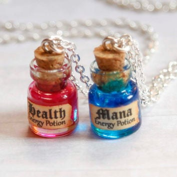 Mana and Health BFF necklaces potion in a bottle geekery jewelry
