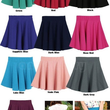 Women Candy Color Stretch Waist Plain Skater Flared Pleated Mini Skirt 15411 = 1655766020