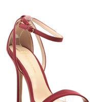 Wine Faux Nubuck Ankle Strap Single Sole Heels