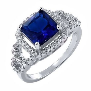 3.80 Ct Princess Cut Blue Simulated Sapphire 925 Sterling Silver Ring