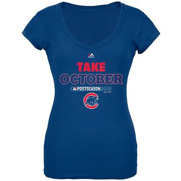 Chicago Cubs - NL Central 2015 Champs Take October Soft Juniors T-Shirt
