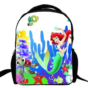 School Backpack 15inch Little Mermaid bagpack double layer custom made primary kindergarten school bag for girl princess Ariel AT_48_3