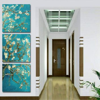 home decor decoration Flowers 3 Piece Oil Painting Art Decorative wall Pictures for living room Print In Canvas (no Frames)