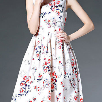 White Sleeveless Floral Bow A-Line Dress