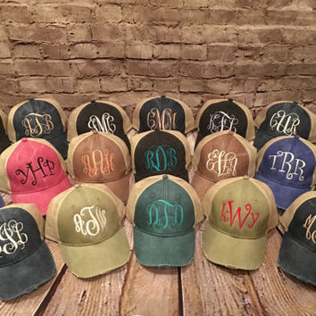 women's monogrammed hat, distressed monogrammed hat, monogram hat, women hat,adams distressed hat, ladies cap,trucker hat, monogram cap
