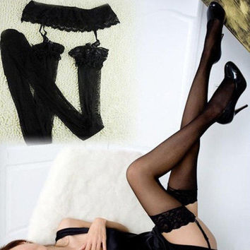 Sexy Womens Lace Top Thigh High Tights Socks Stockings + Lace Skirt Garter Belt New = 1932734468