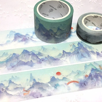 blue mountain washi tape 5M x 3cm sunrise blue hills nature scenes Masking tape sunset watercolor scenes landscape scenes sticker tape decor